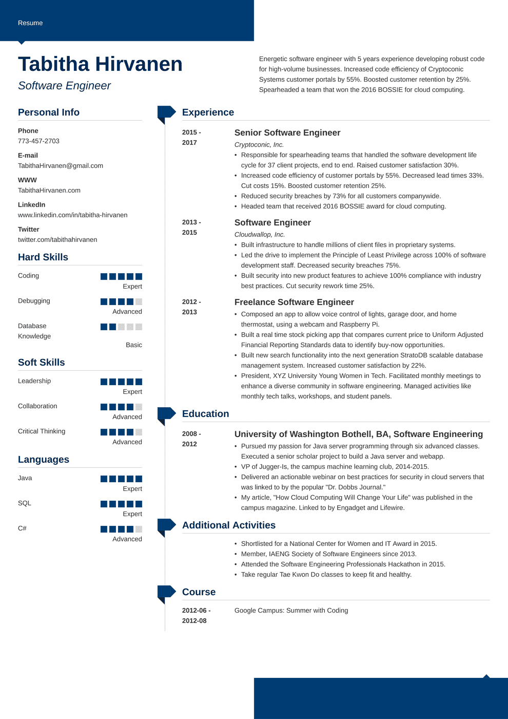 Professional Resume Template Modern