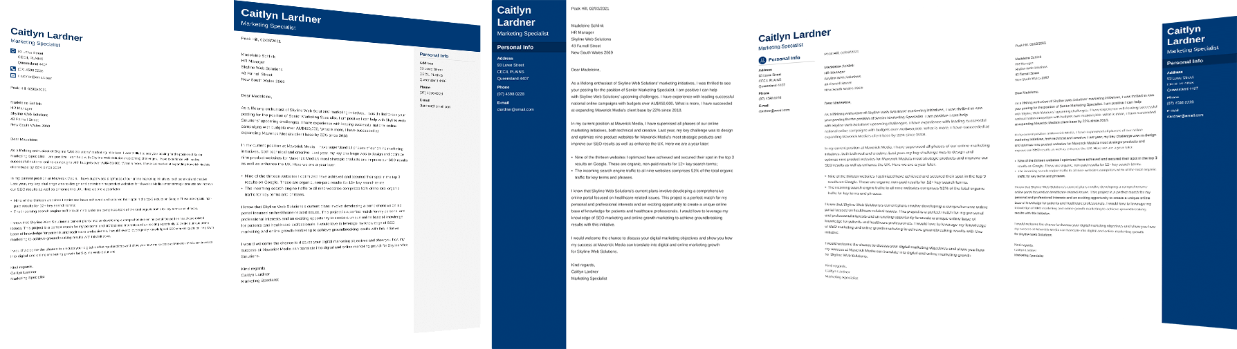 Carousel of cover letters made with zety cover letter builder.