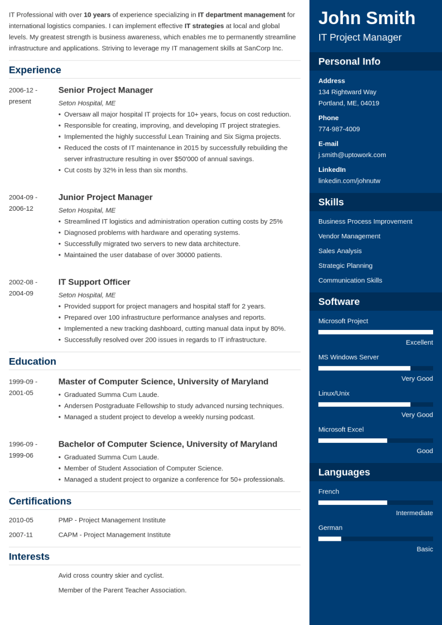 Professional Resume Template Enfold