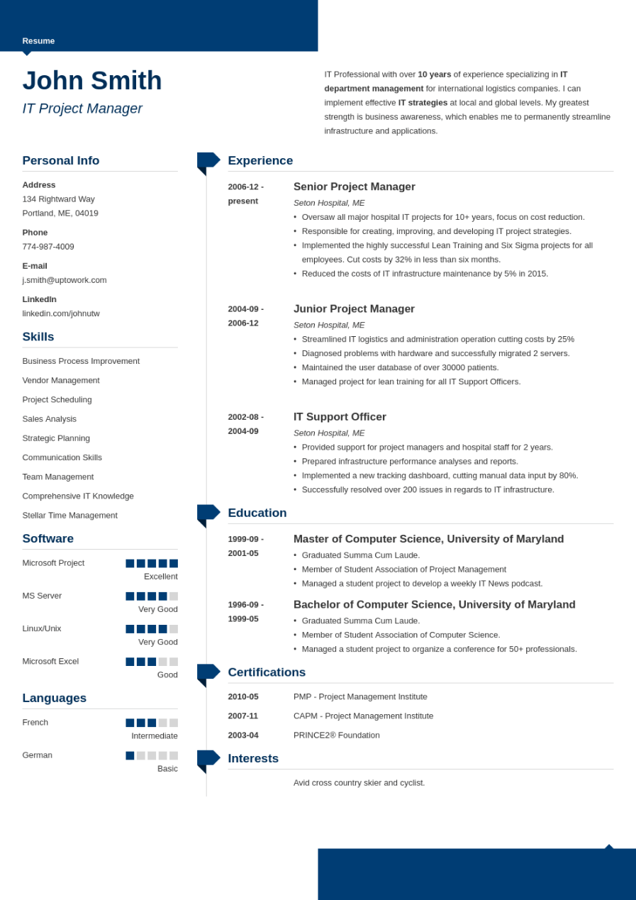 Professional Resume Template Moderne