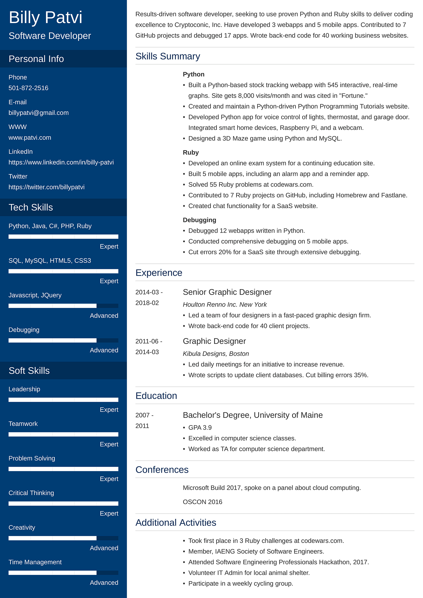 Example of a career change resume