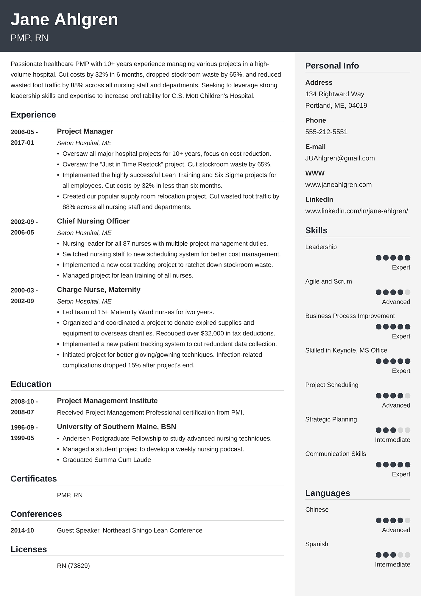 Example of a general resume