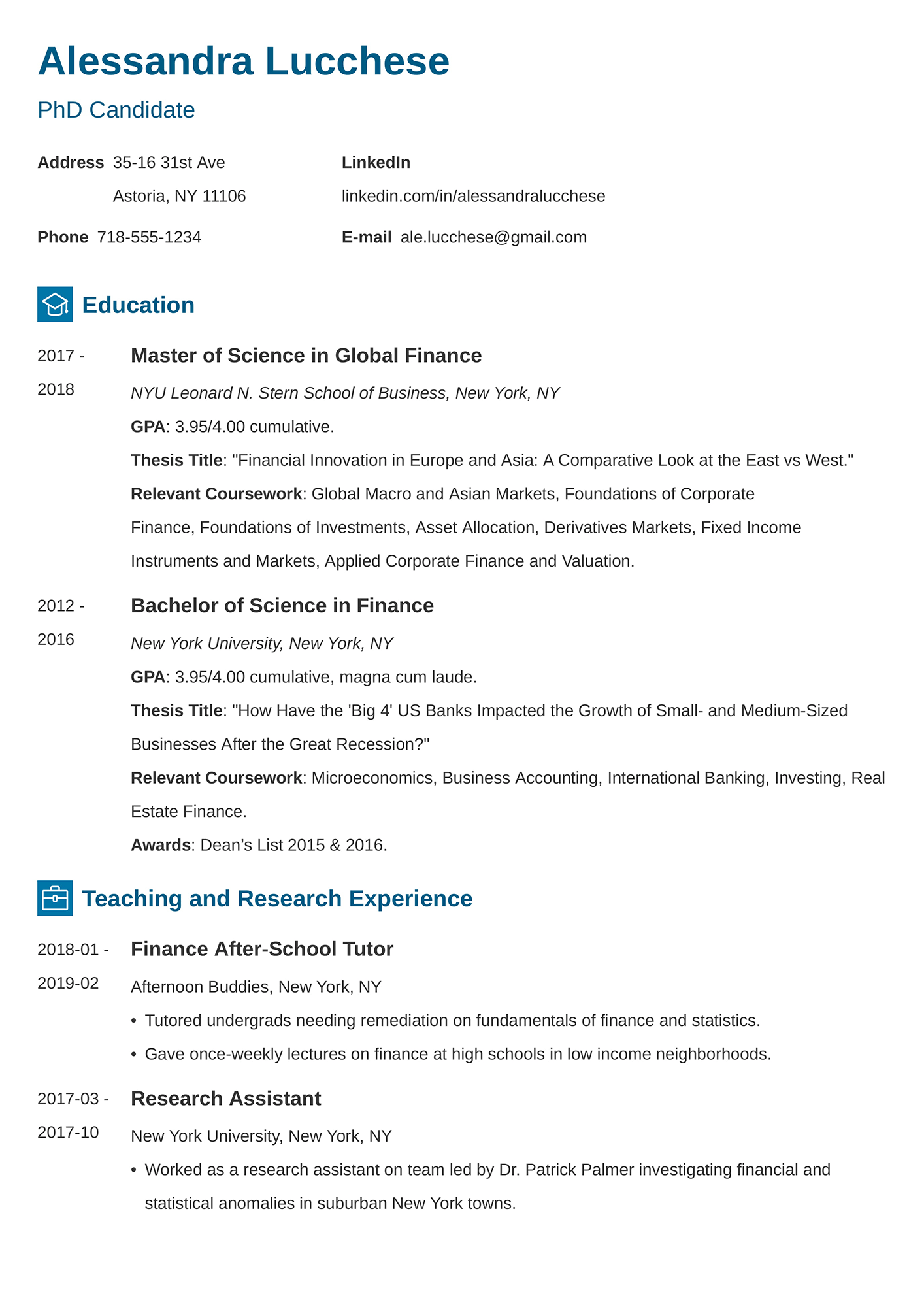 Example of an graduate school CV