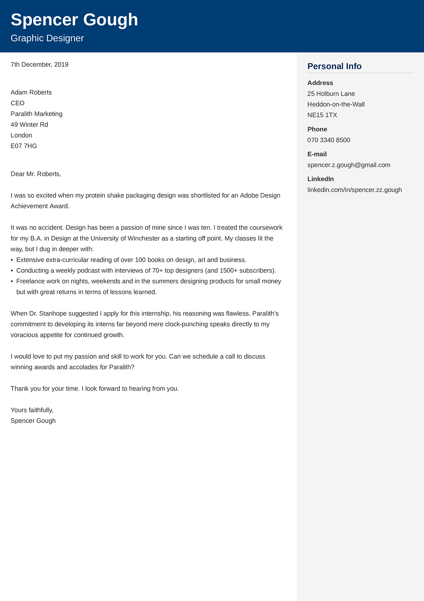 Example of a internship Cover Letter