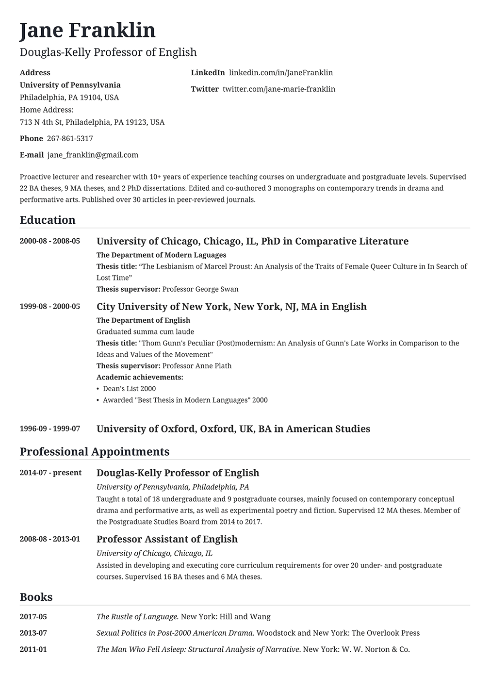 500 Cv Examples A Curriculum Vitae For Any Job Application