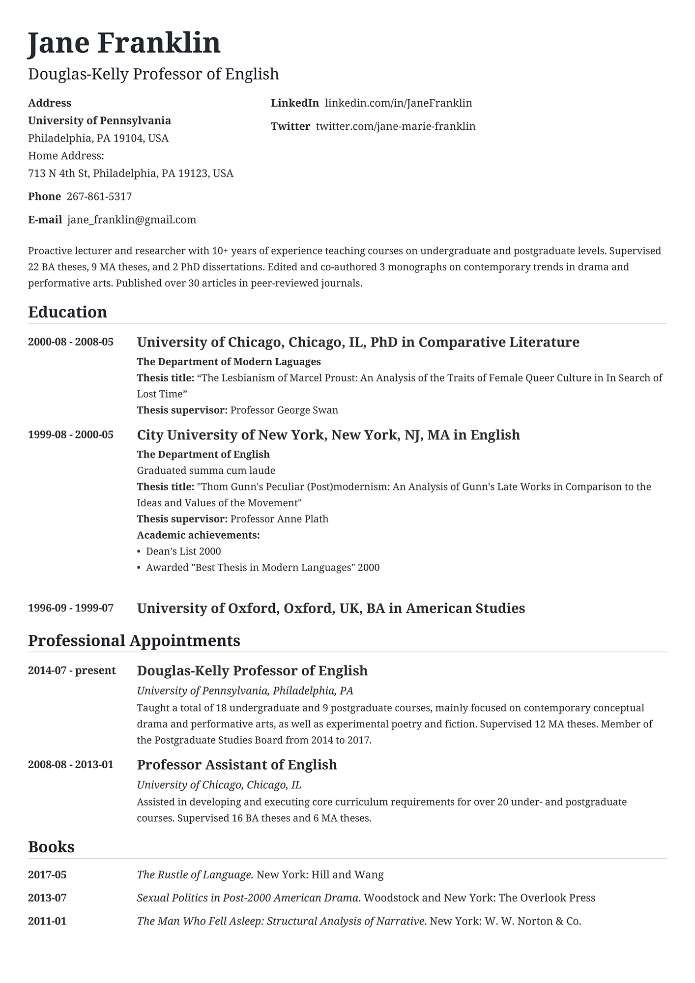 Example of an professor CV