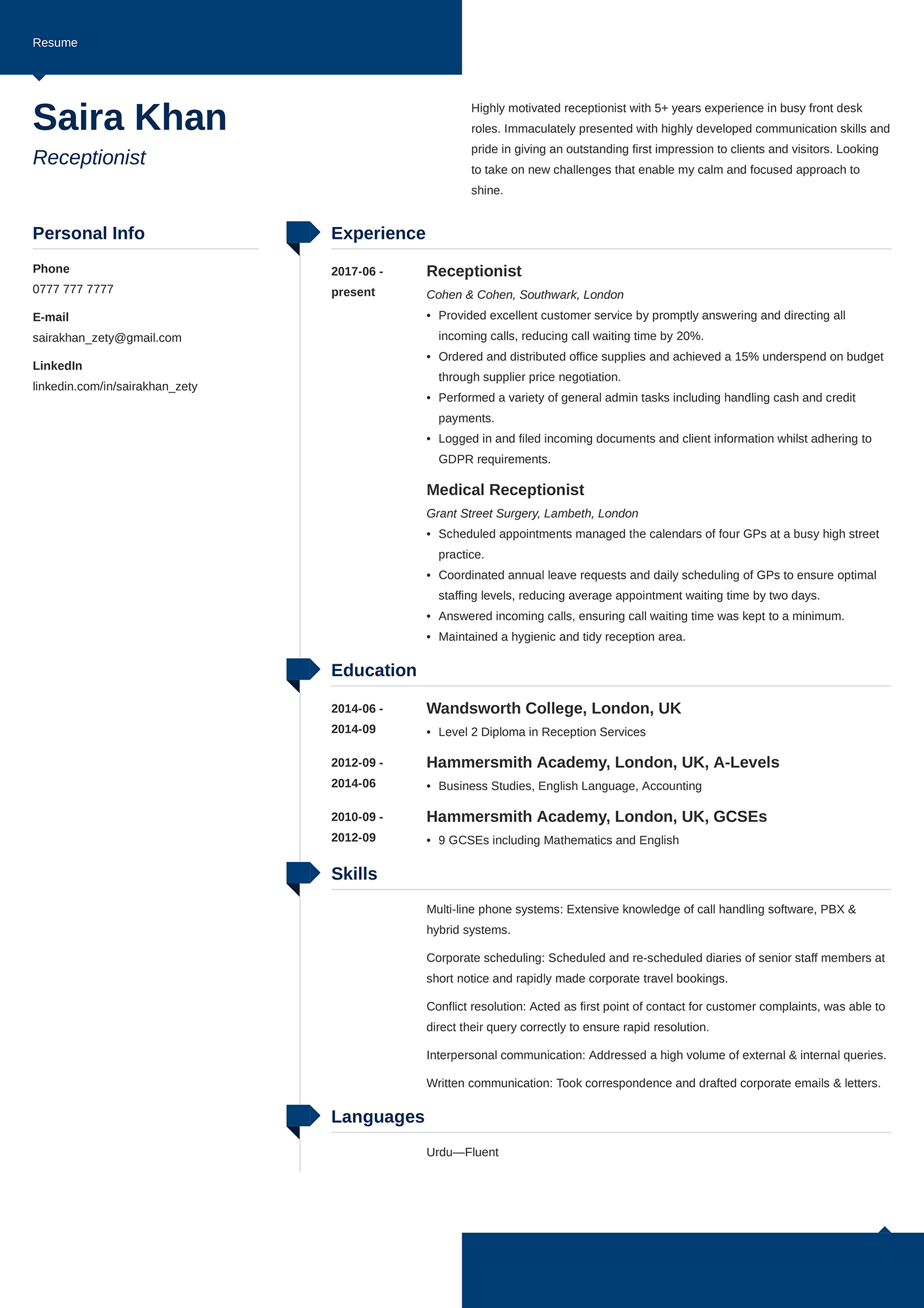Example of a receptionist CV