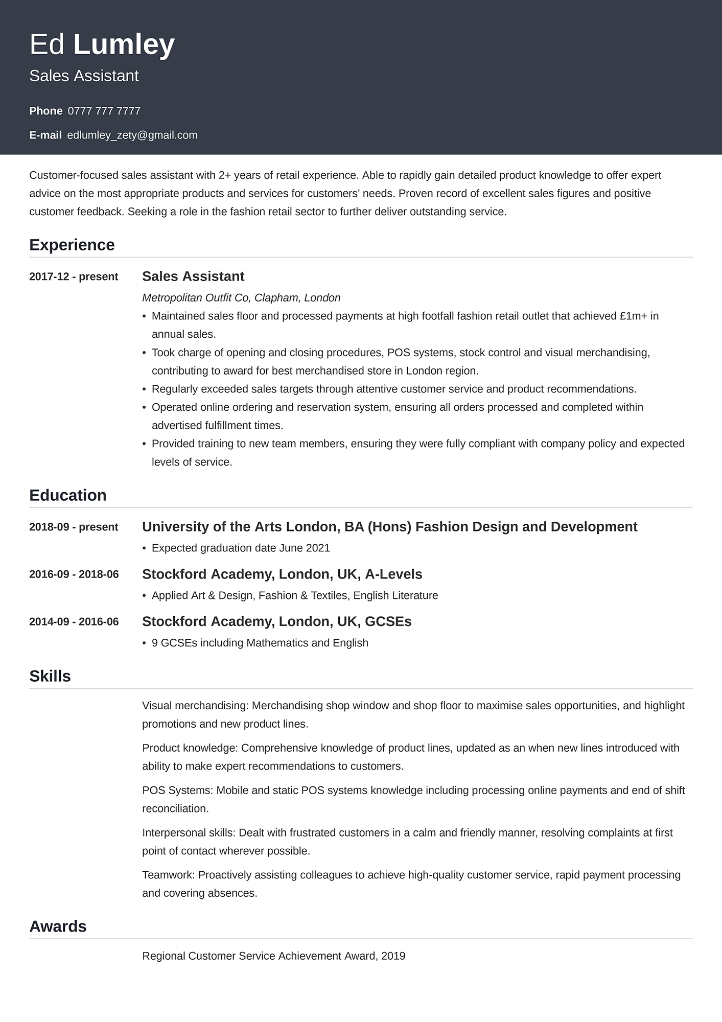 Example of a retail CV