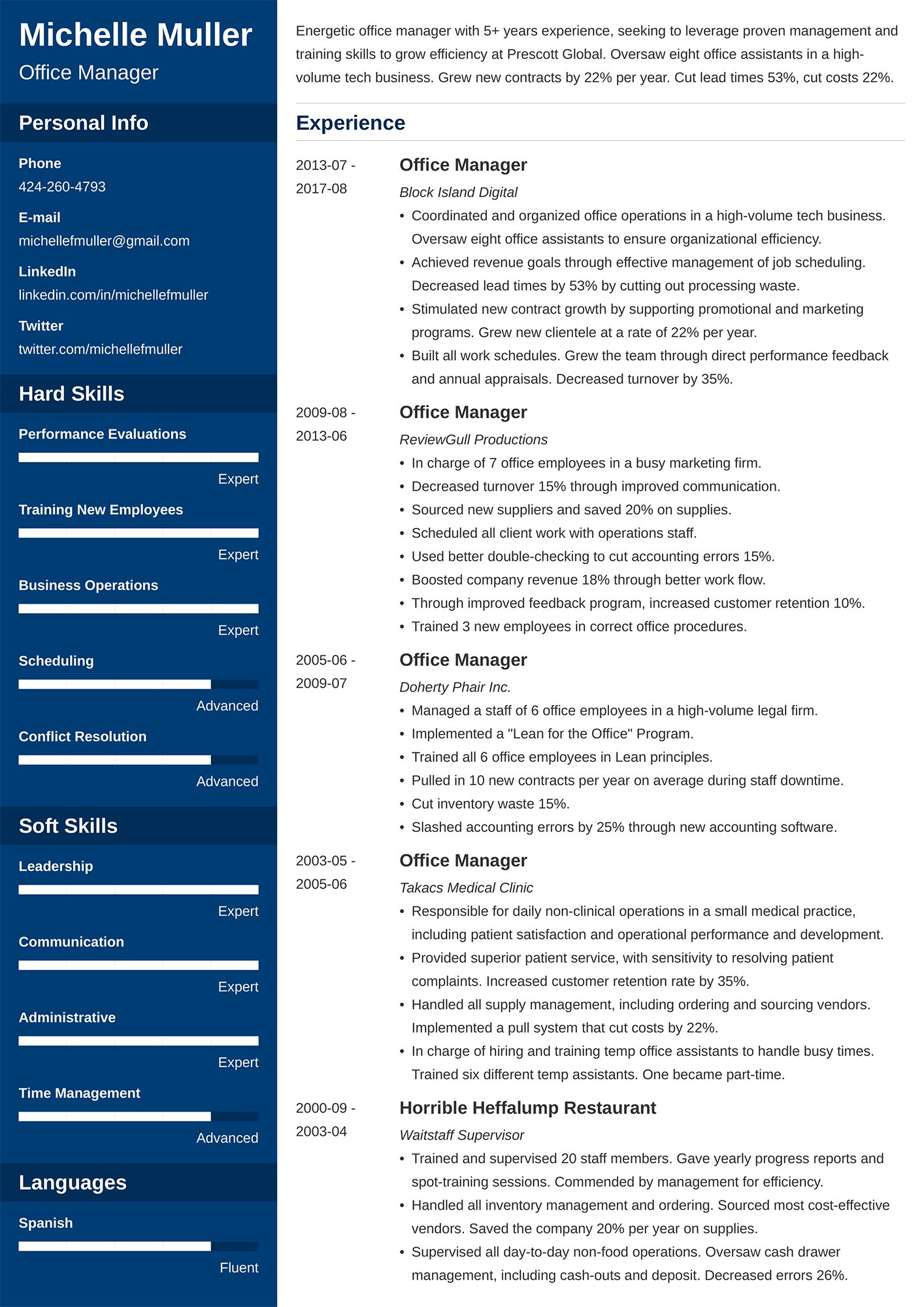 Example of a two page resume