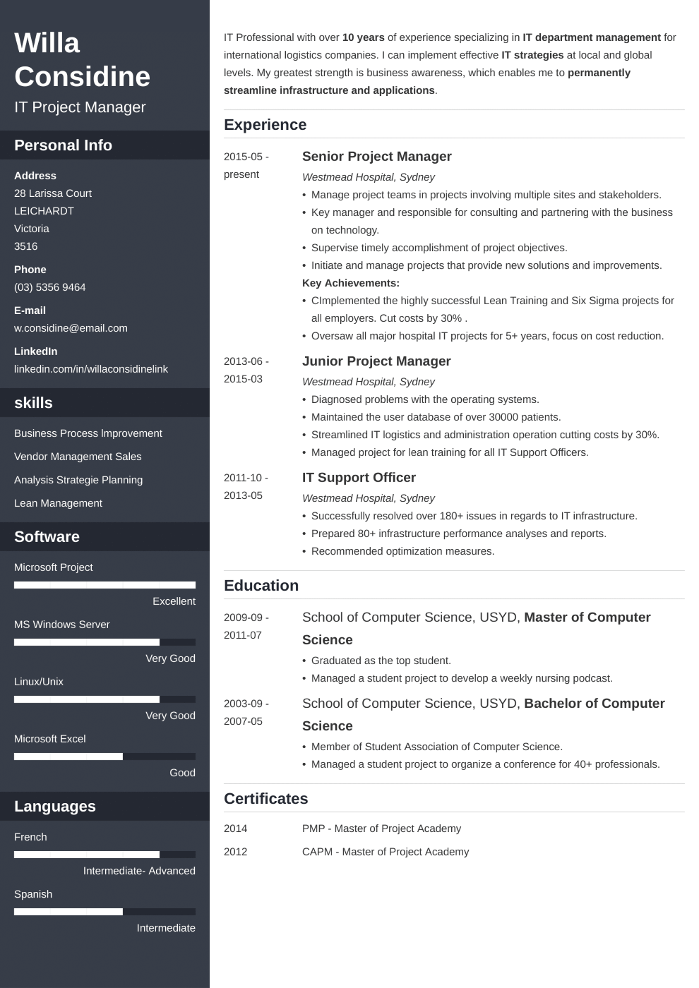 Professional resume made with cascade template