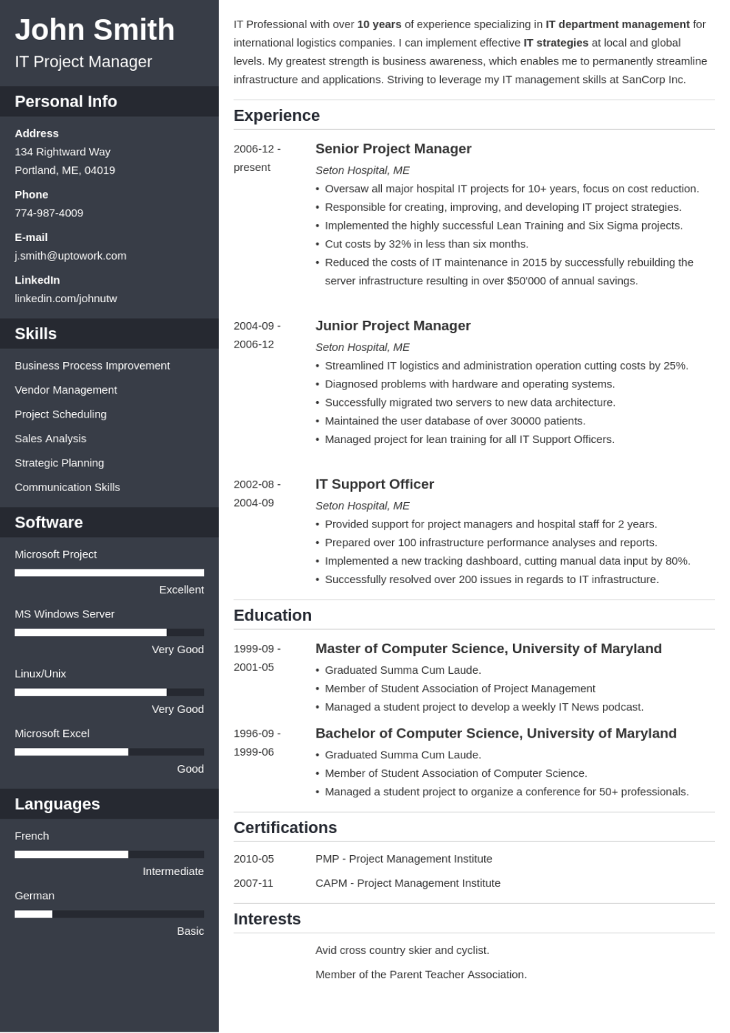 Cascade - professional resume template