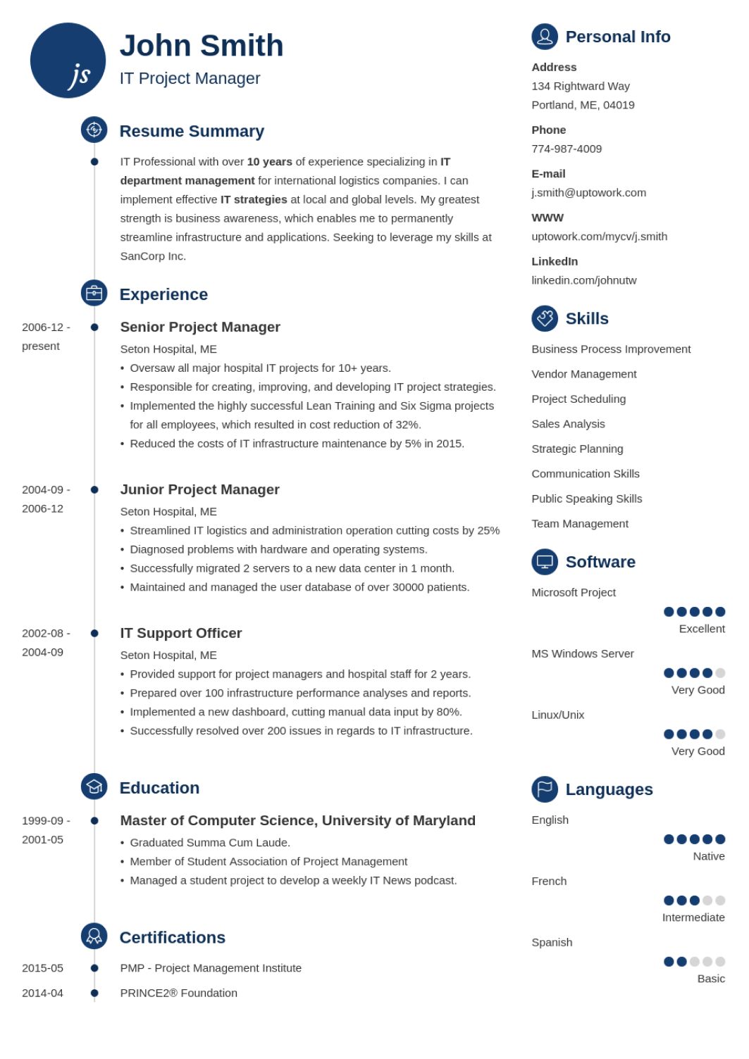 Primo - professional resume template