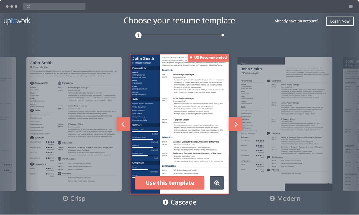 Zety Resume Builder screenshot templates