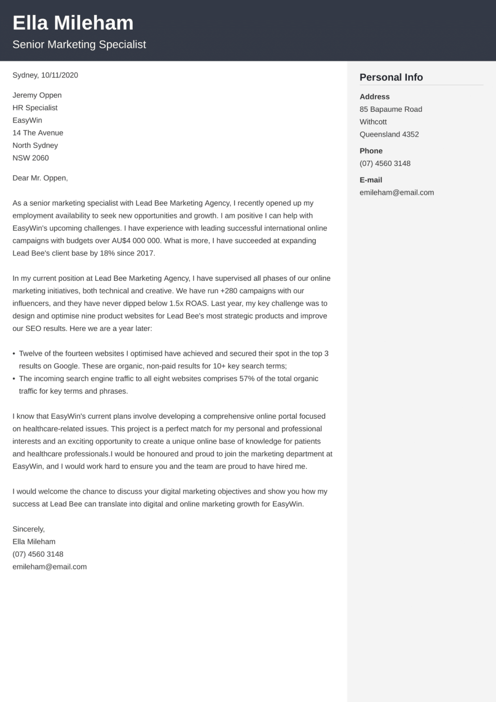 Cubic cover letter template