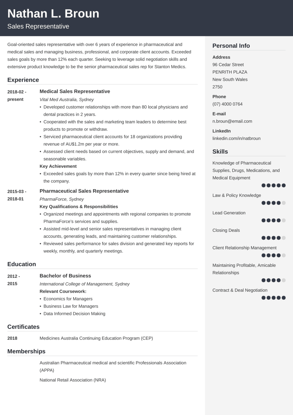 Zety's Cubic CV Template