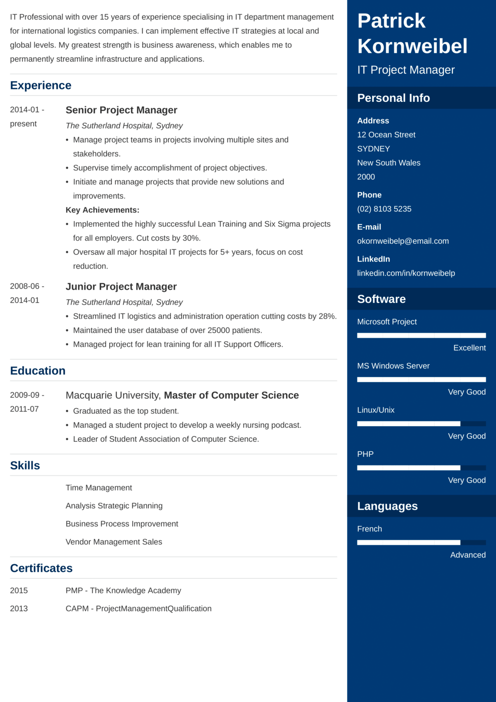 Zety's Enfold Resume Template