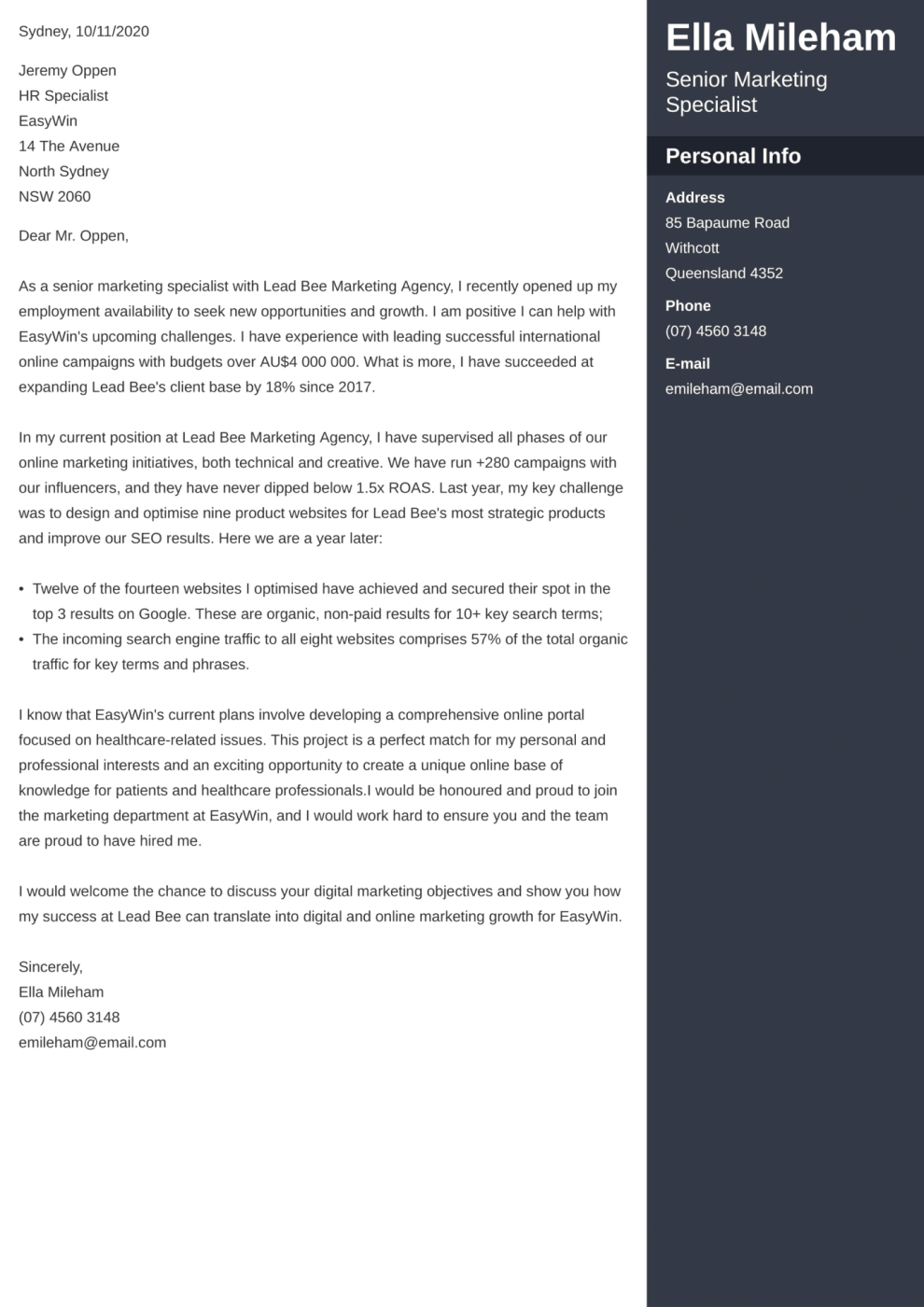 Enfold cover letter template