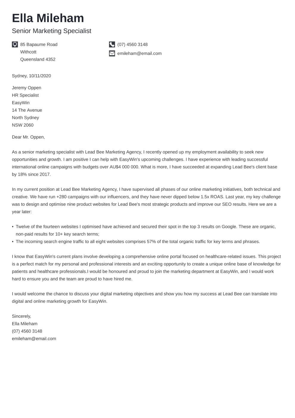 Iconic cover letter template
