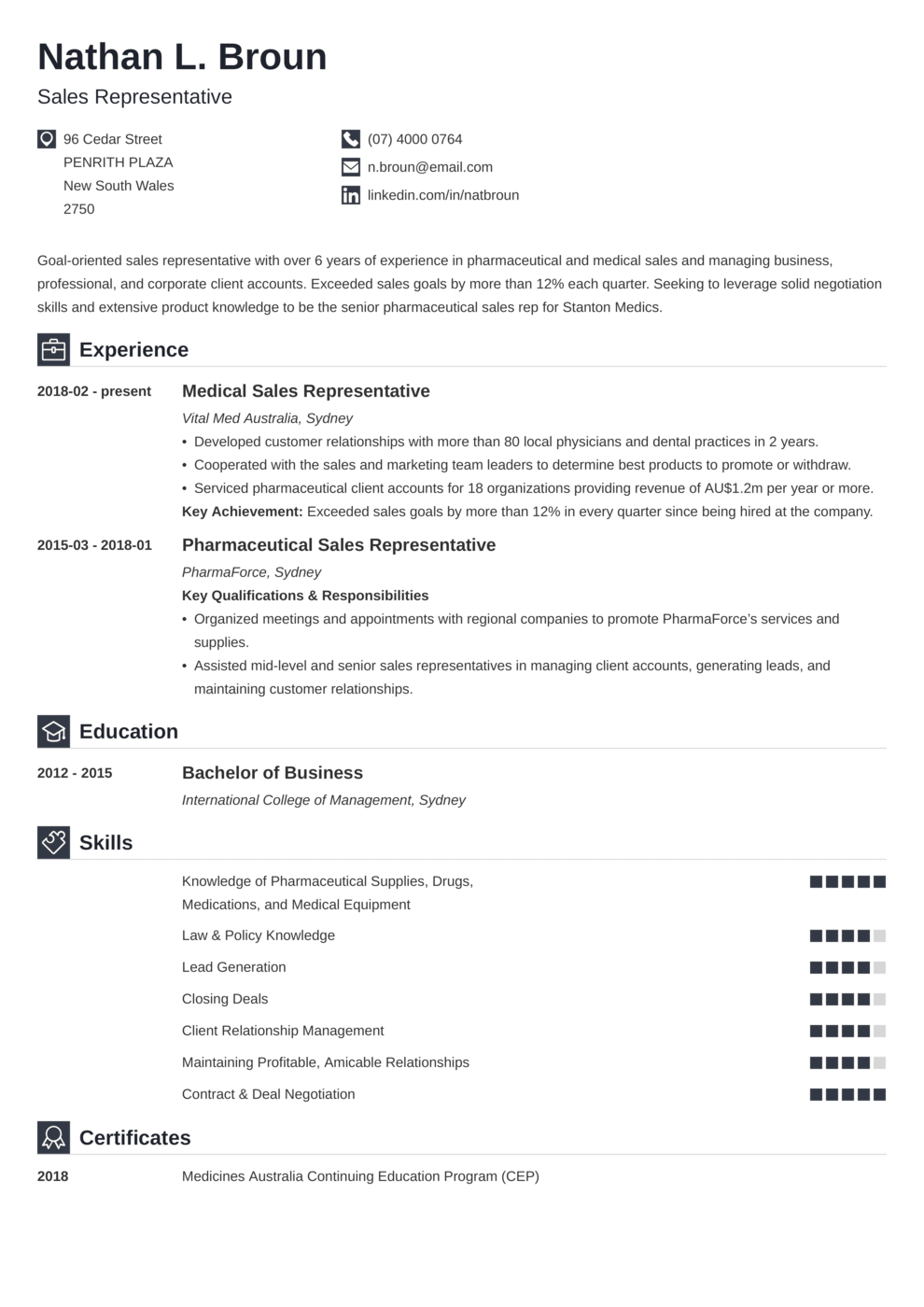 Zety's Iconic CV Template