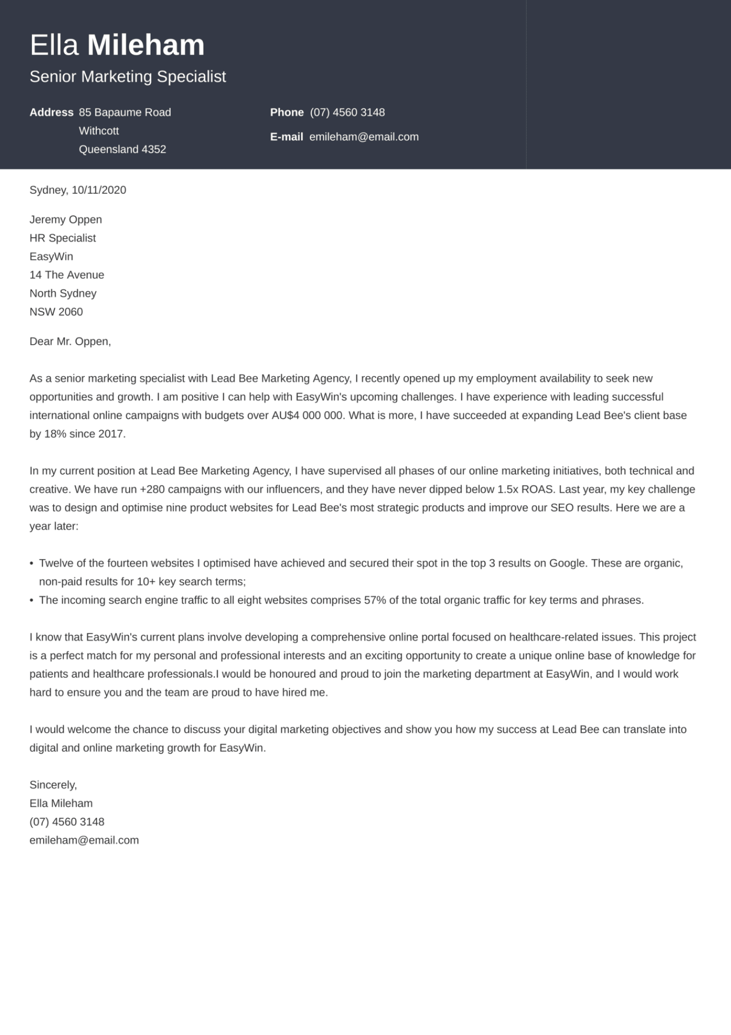 Influx cover letter template