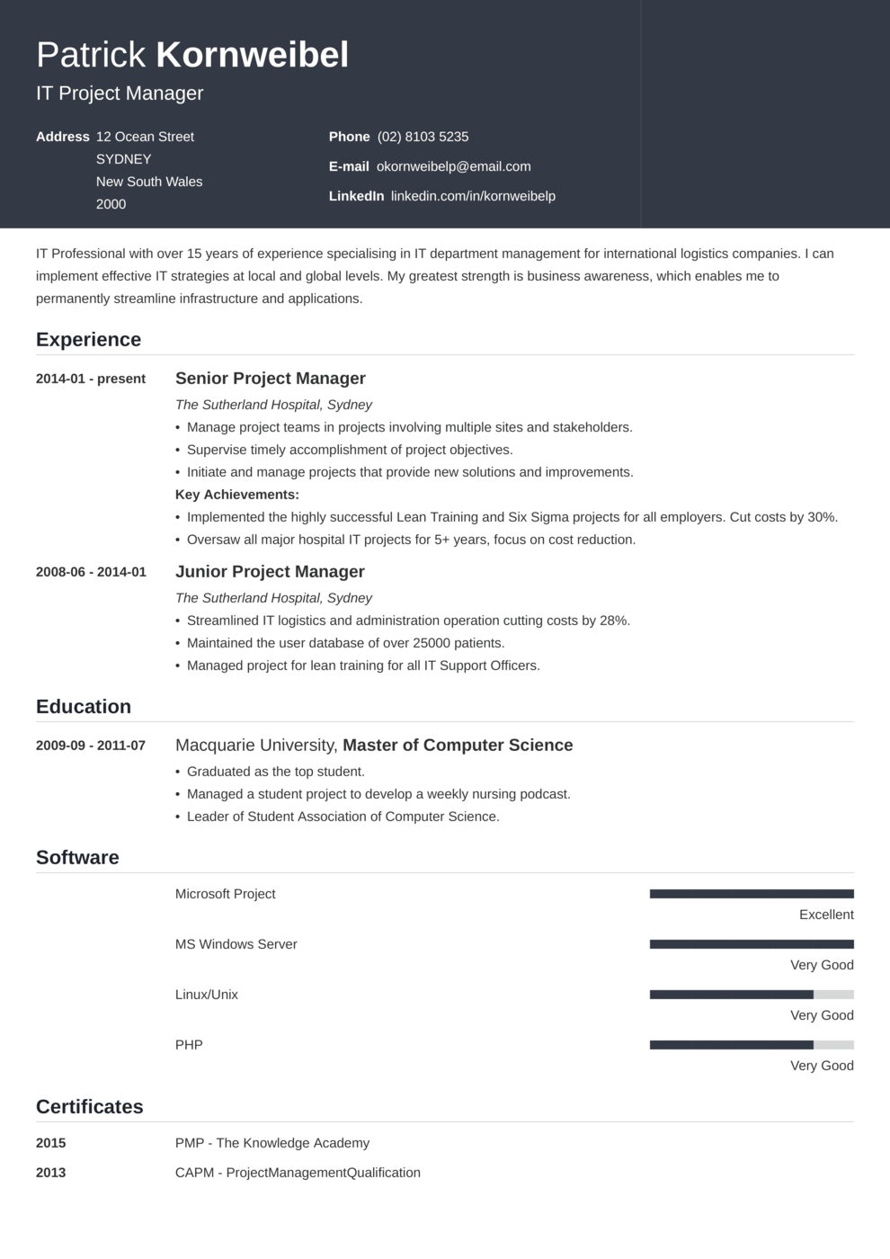 Zety's Influx Resume Template