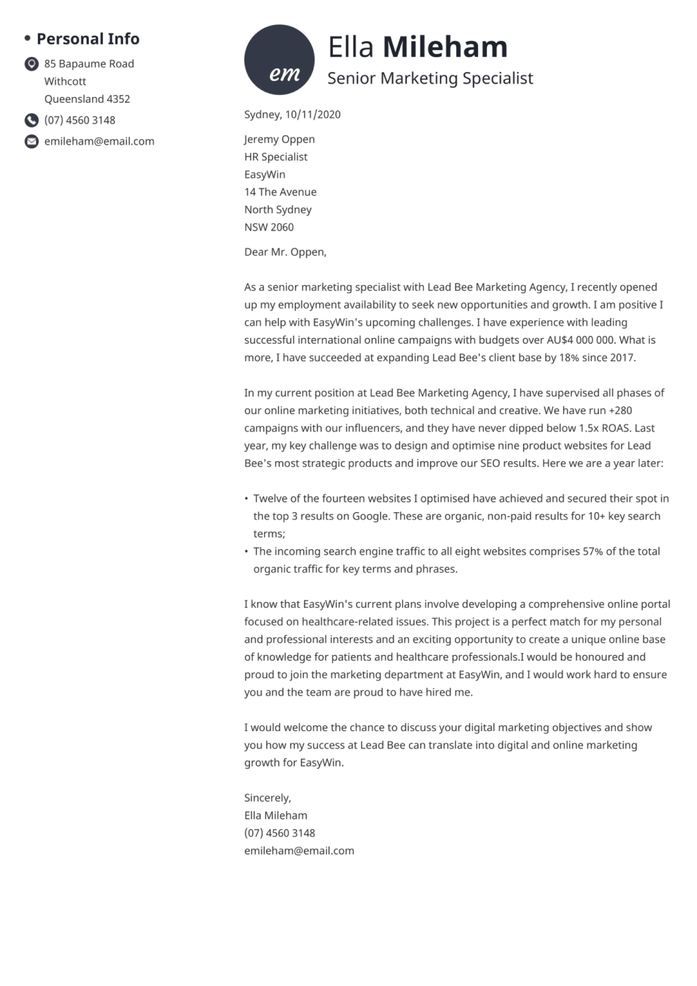 Initials cover letter template