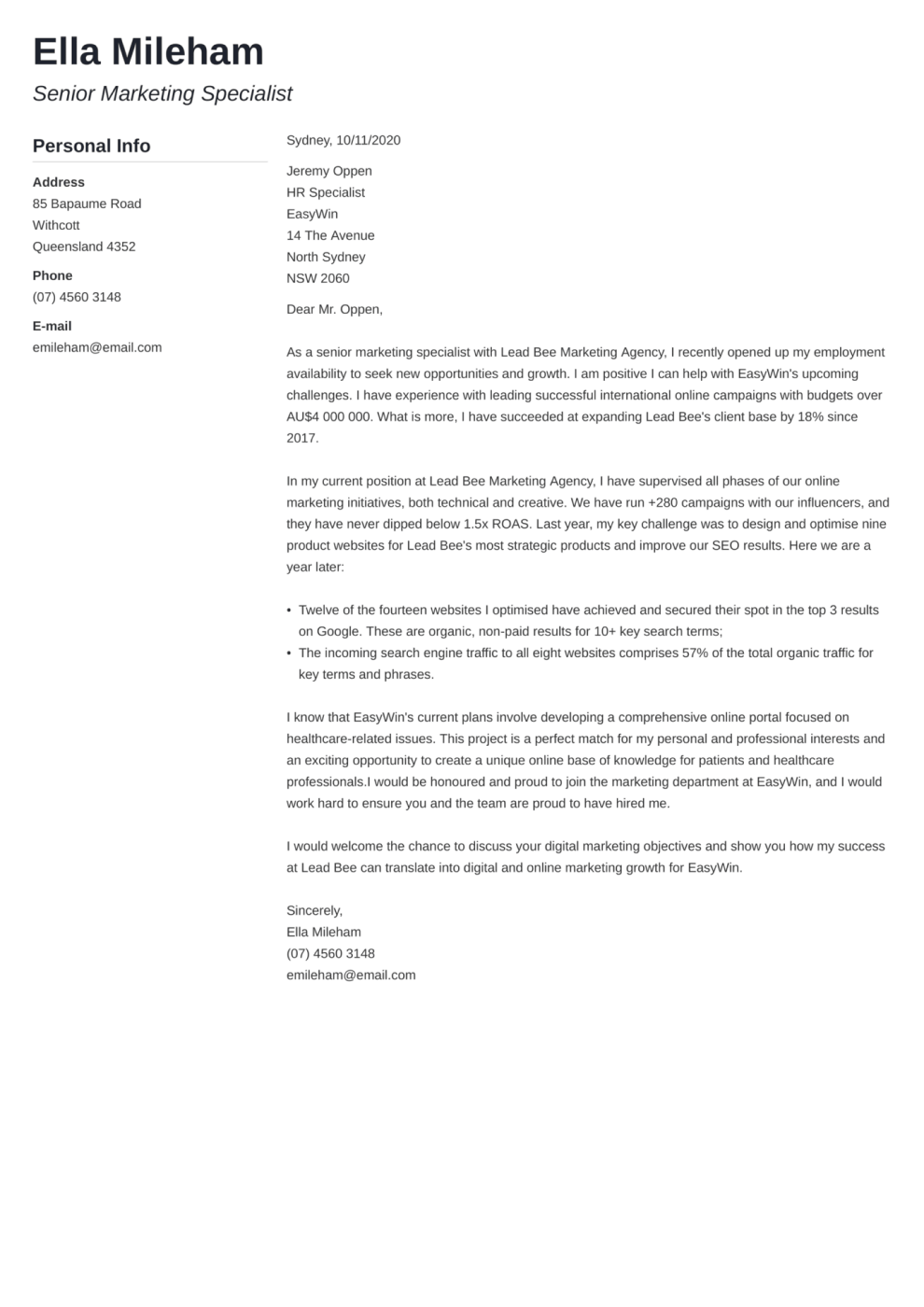 Muse cover letter template