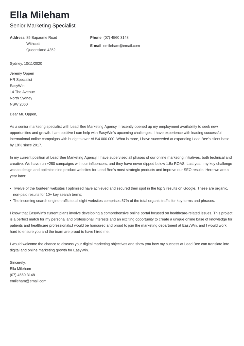 Newcast cover letter template