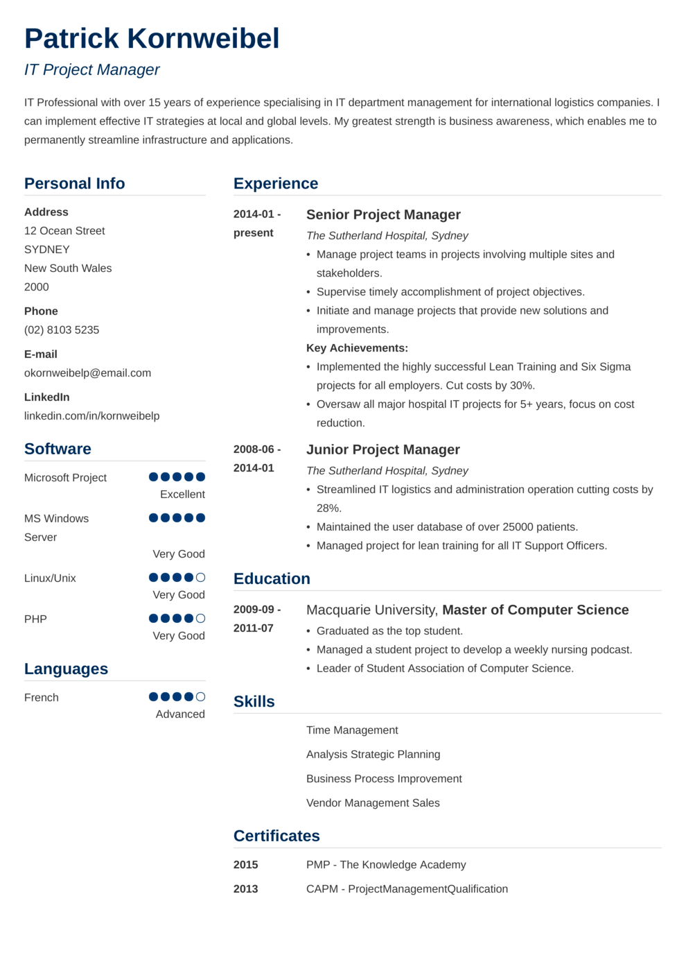 Zety's Simple Resume Template