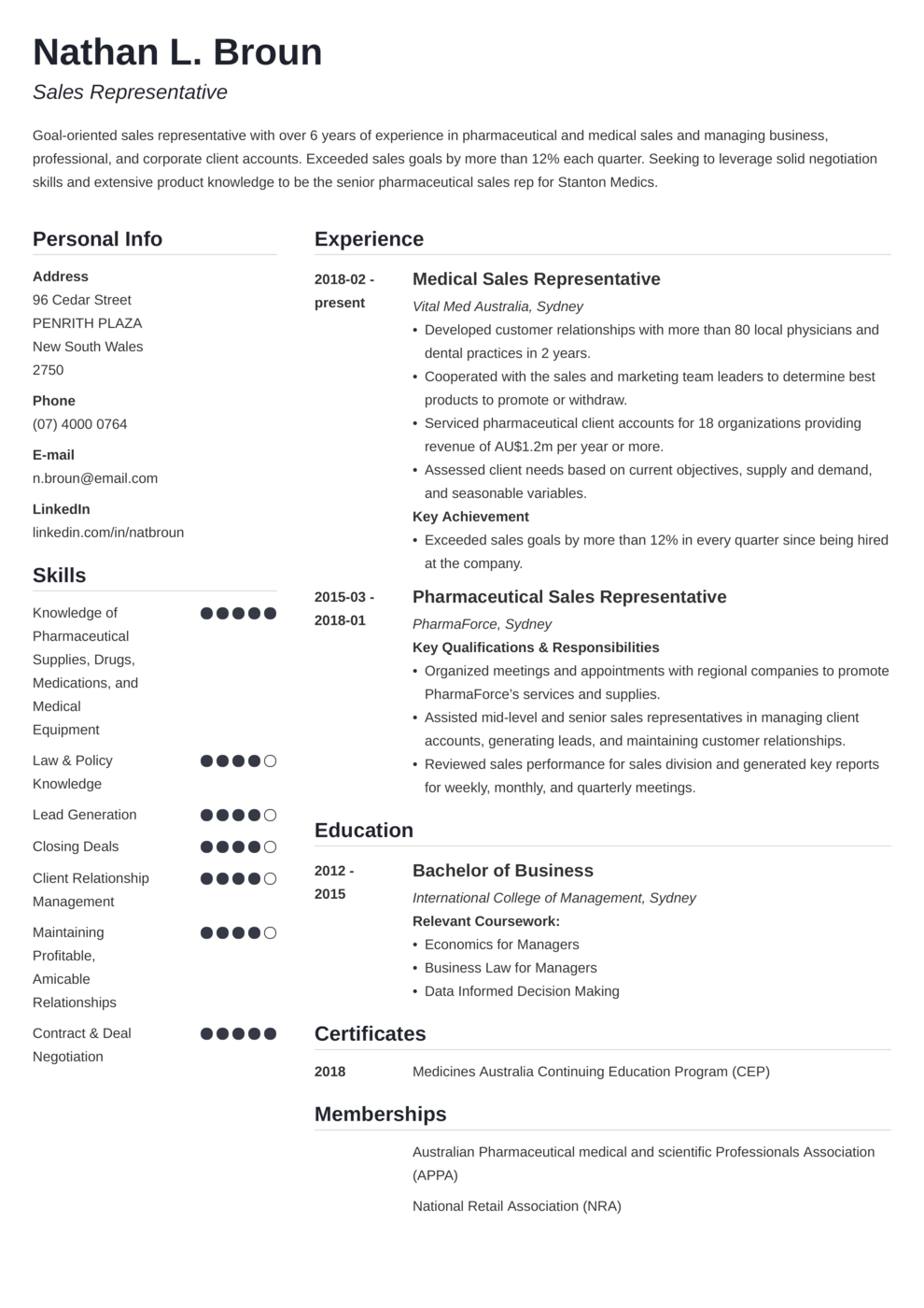 Zety's Simple CV Template