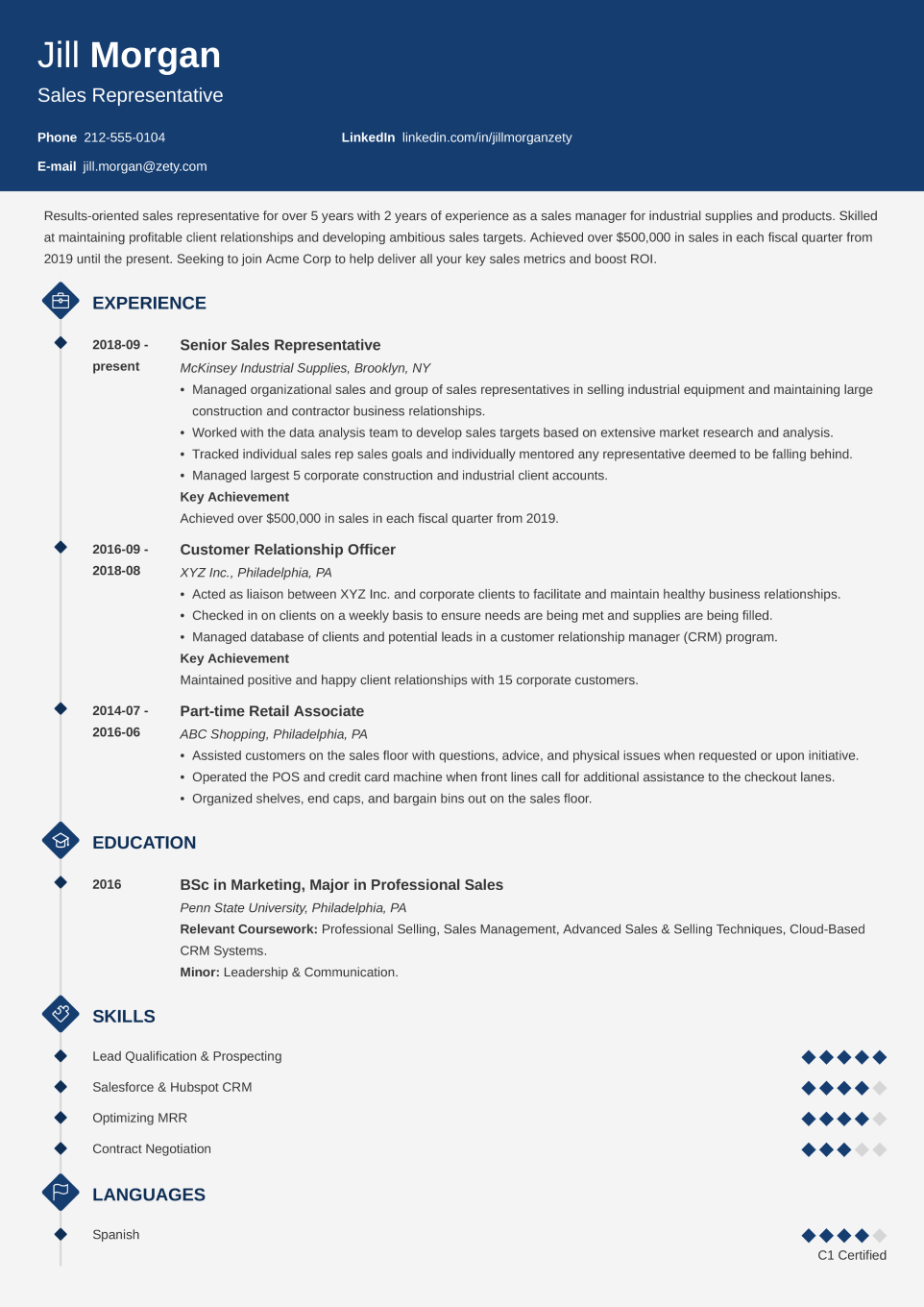Professional CV Template Diamond