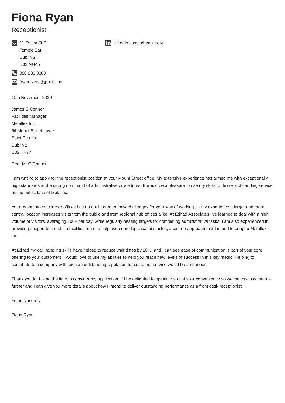 Professional cover letter Template Iconic