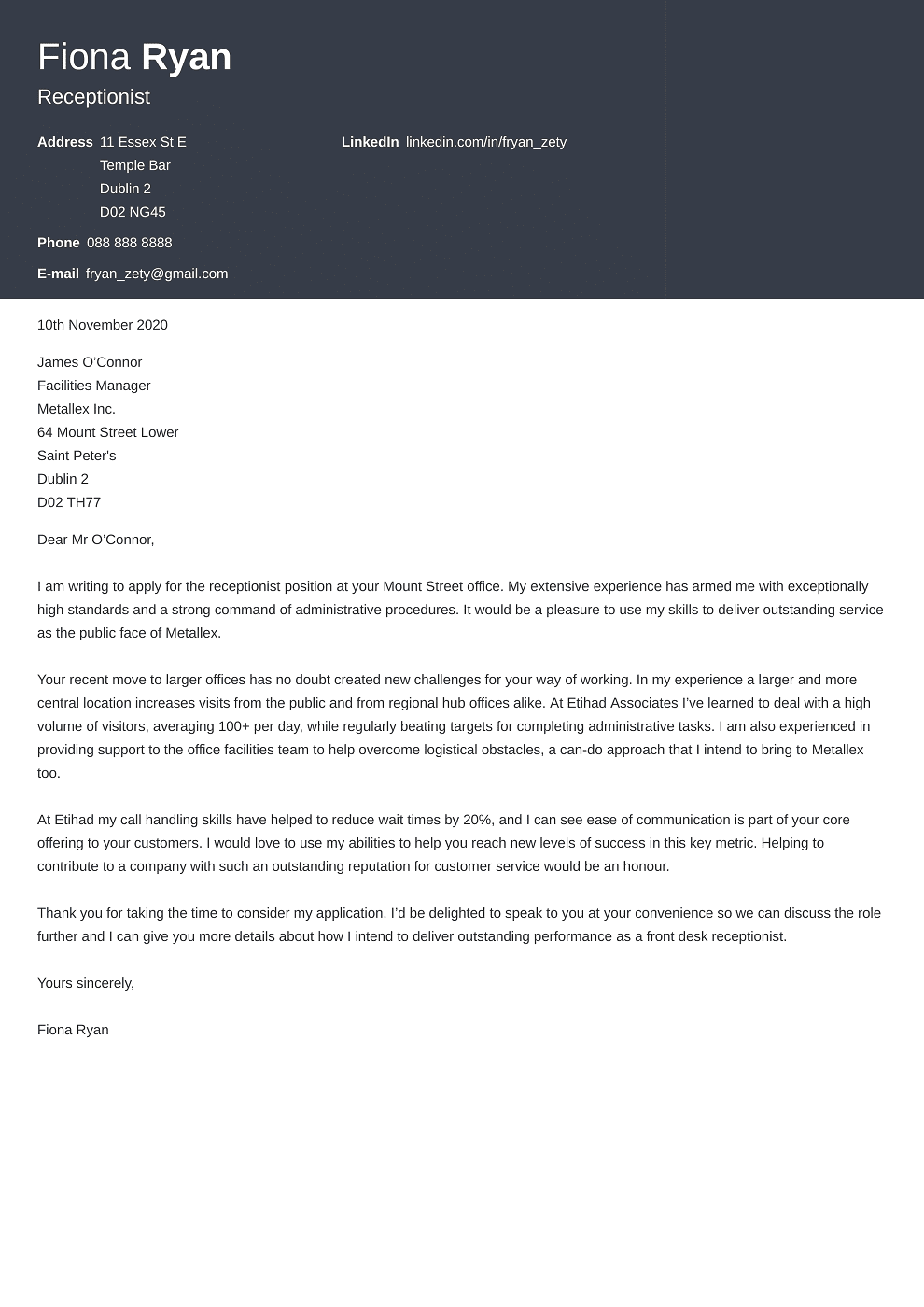Professional cover letter Template Influx