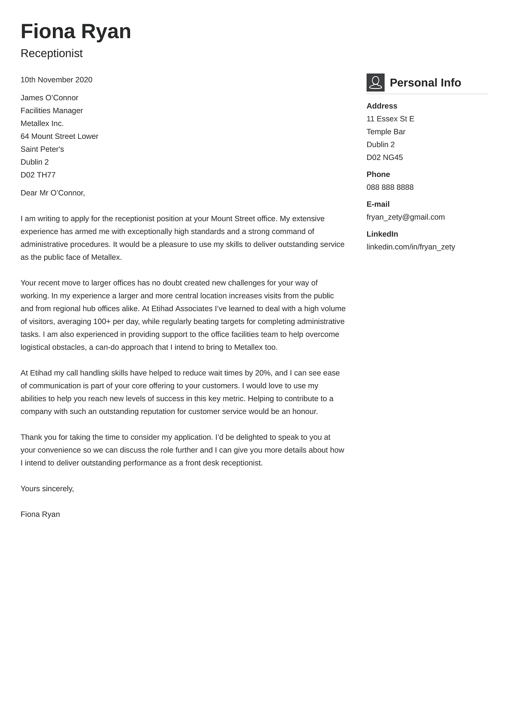 Professional cover letter Template Vibes