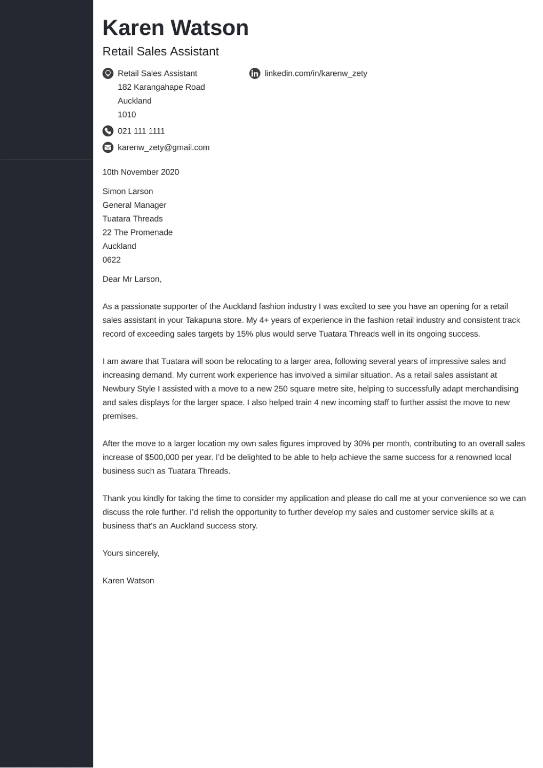 Professional cover letter Template Concept
