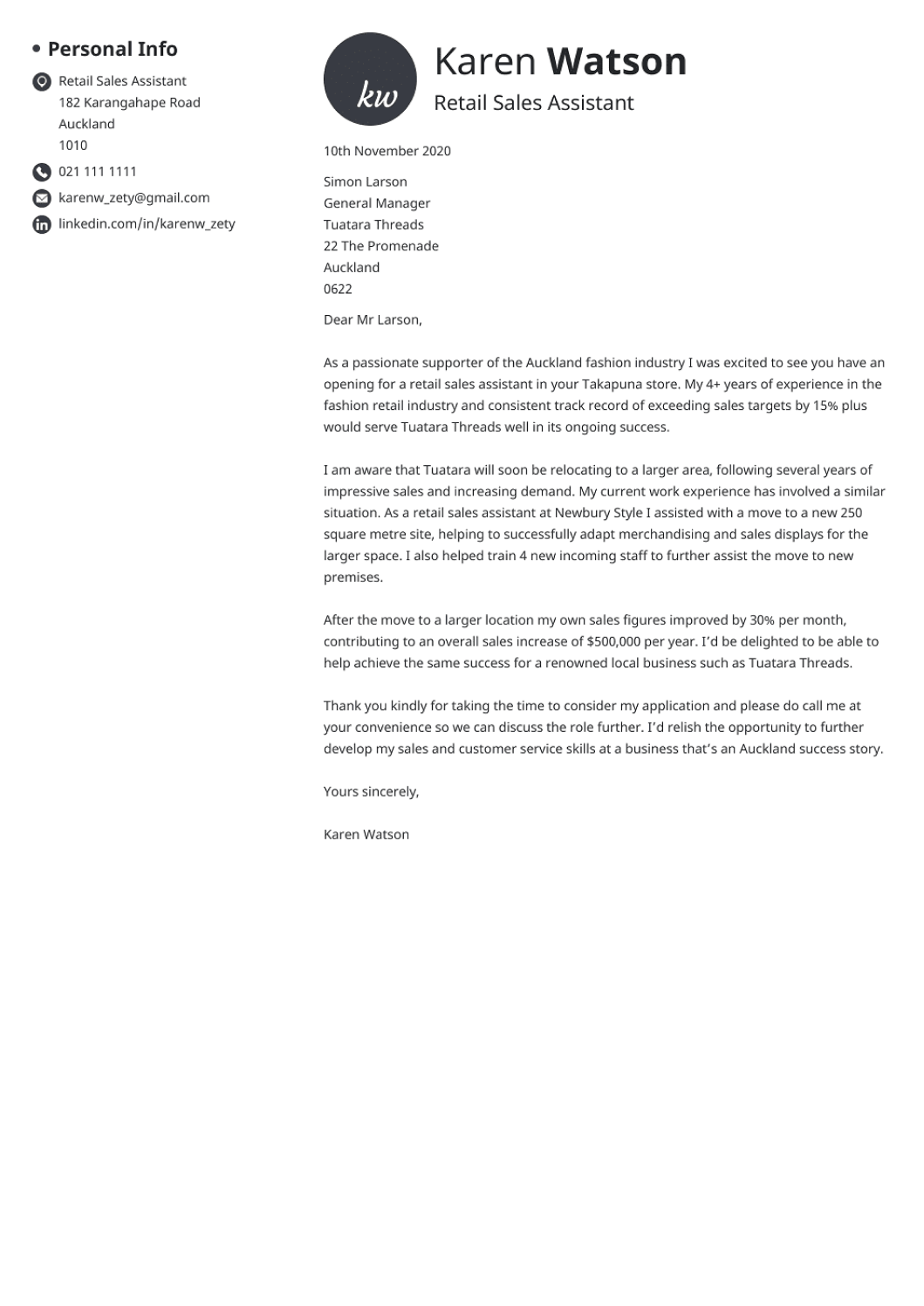 Professional cover letter Template Initials