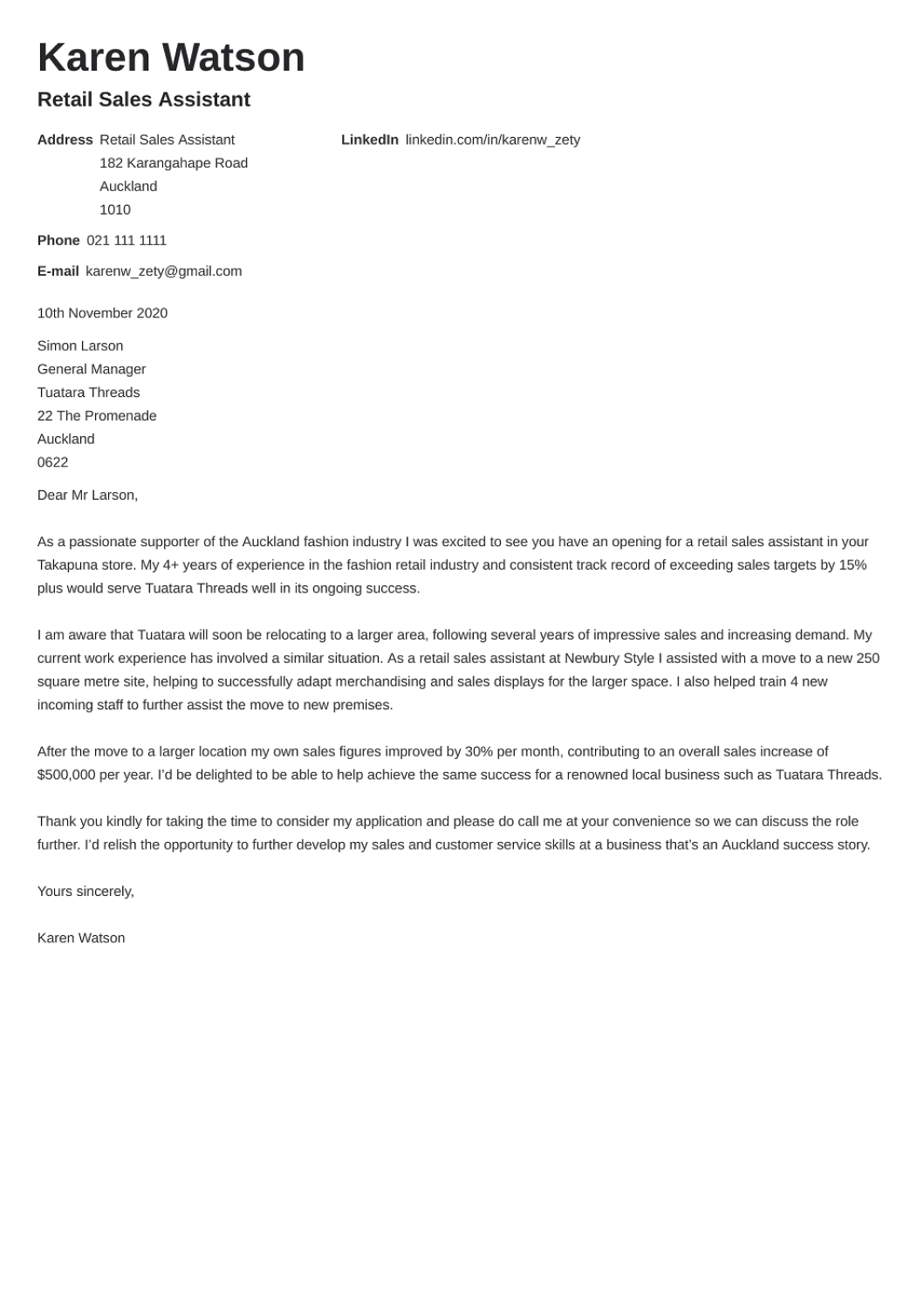 Professional cover letter Template Valera