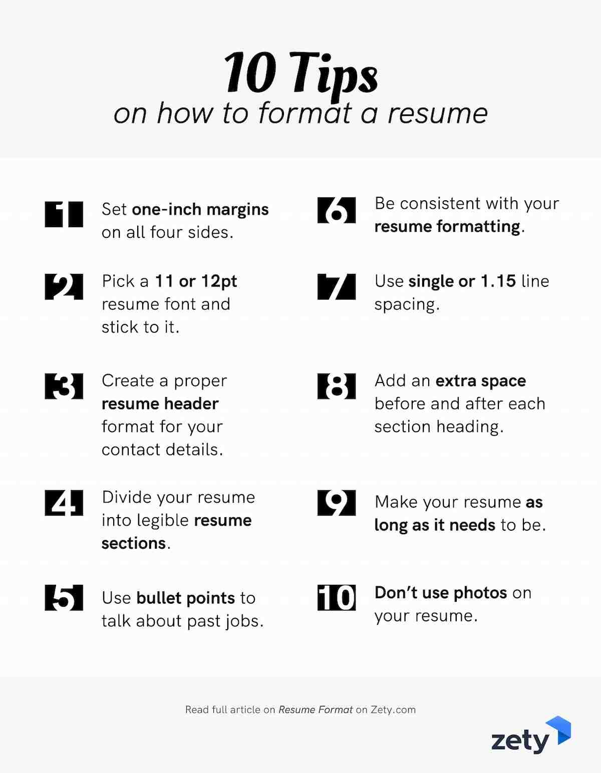 10 resume formatting tips for a professional resume