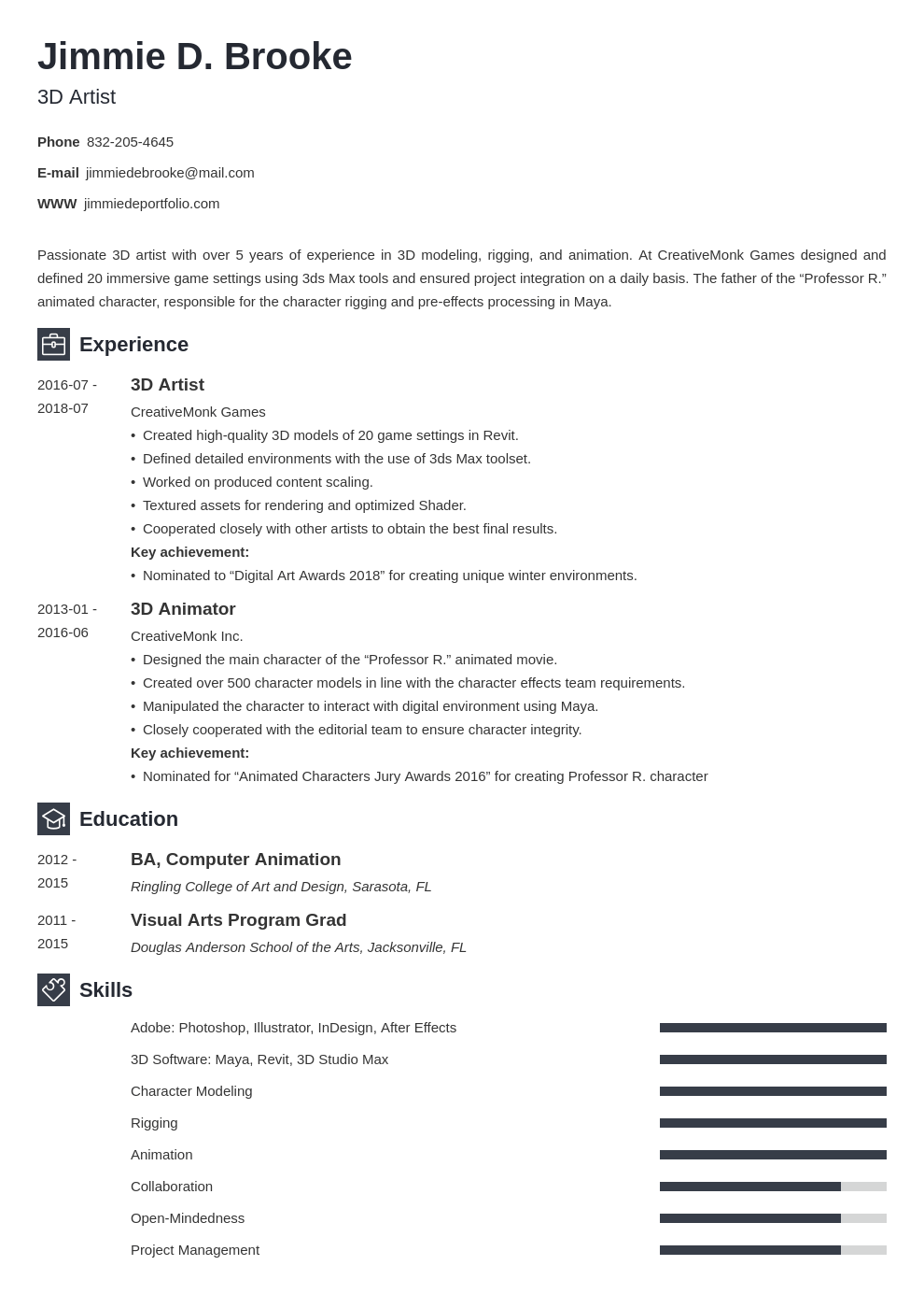 3d artist resume example template newcast