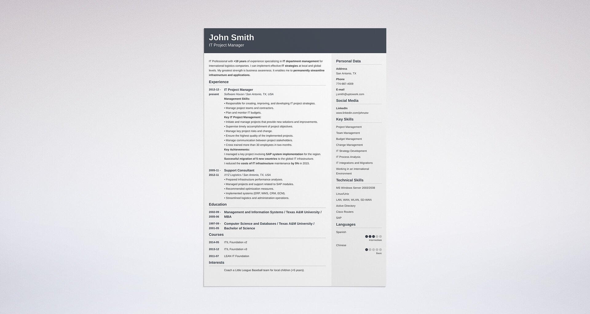 Uptowork  Free Combination Resume Template