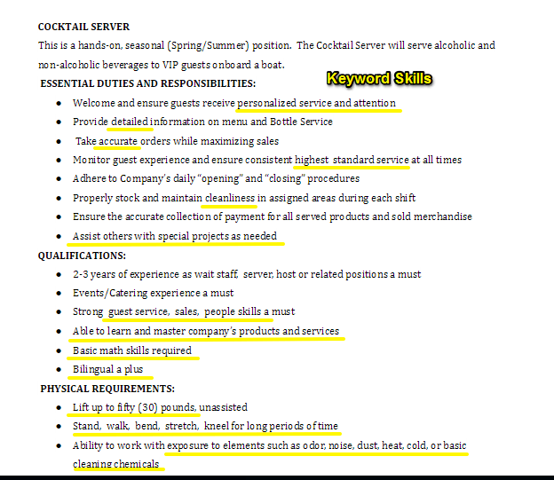 Job summary resume examples