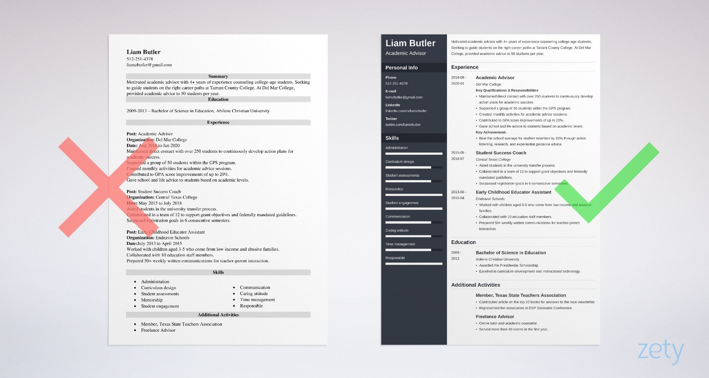 academic advisor resume templates