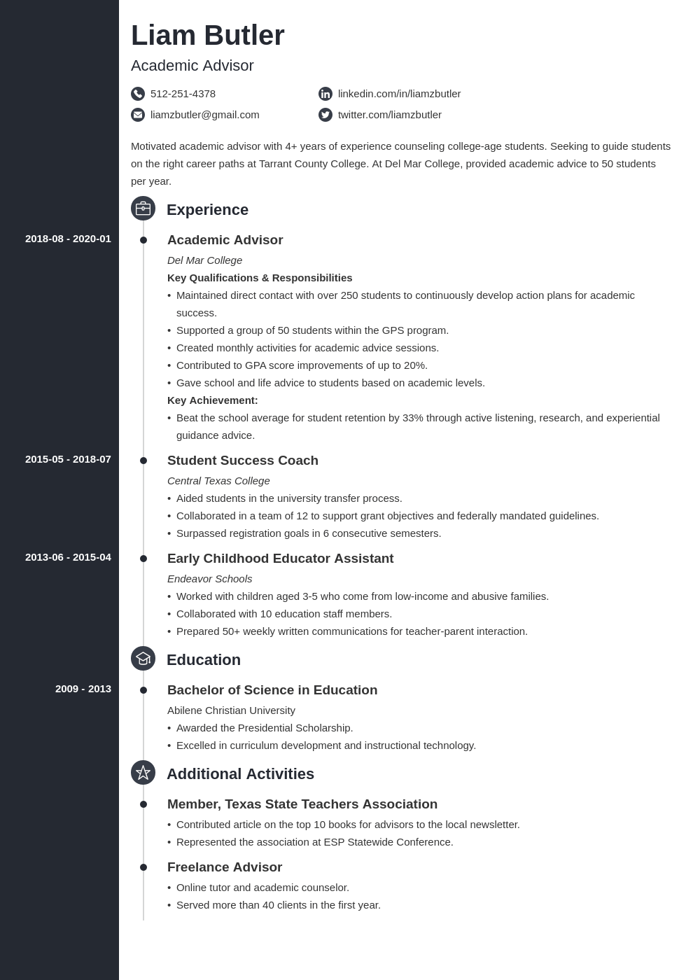 academic advisor resume example template concept