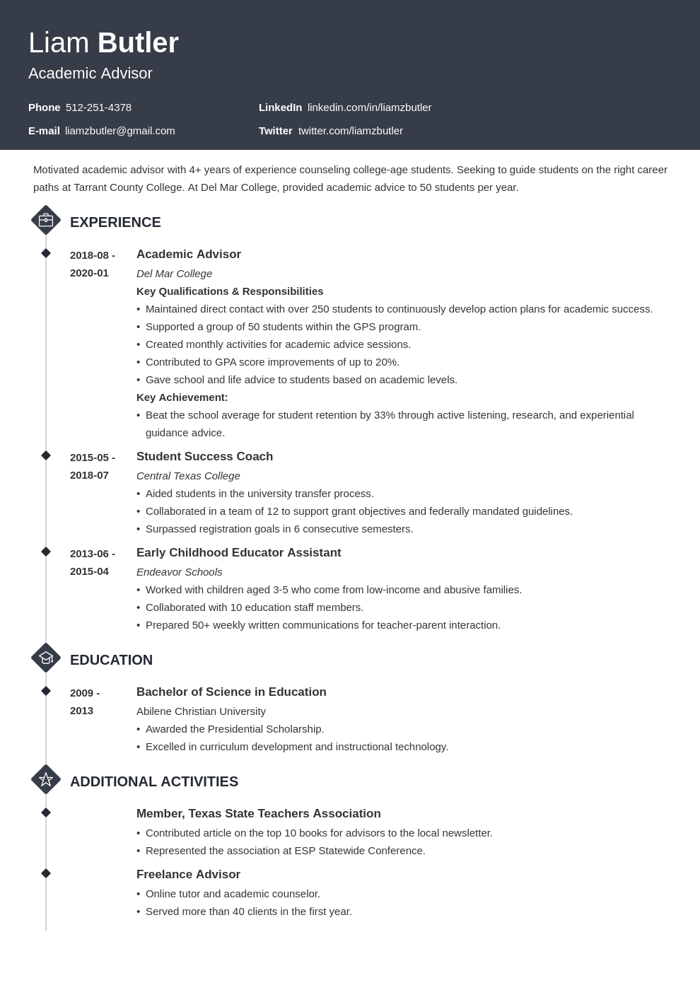 academic advisor resume example template diamond