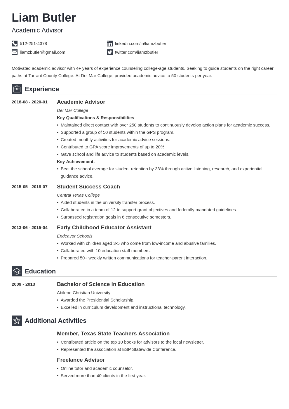 academic advisor resume example template iconic