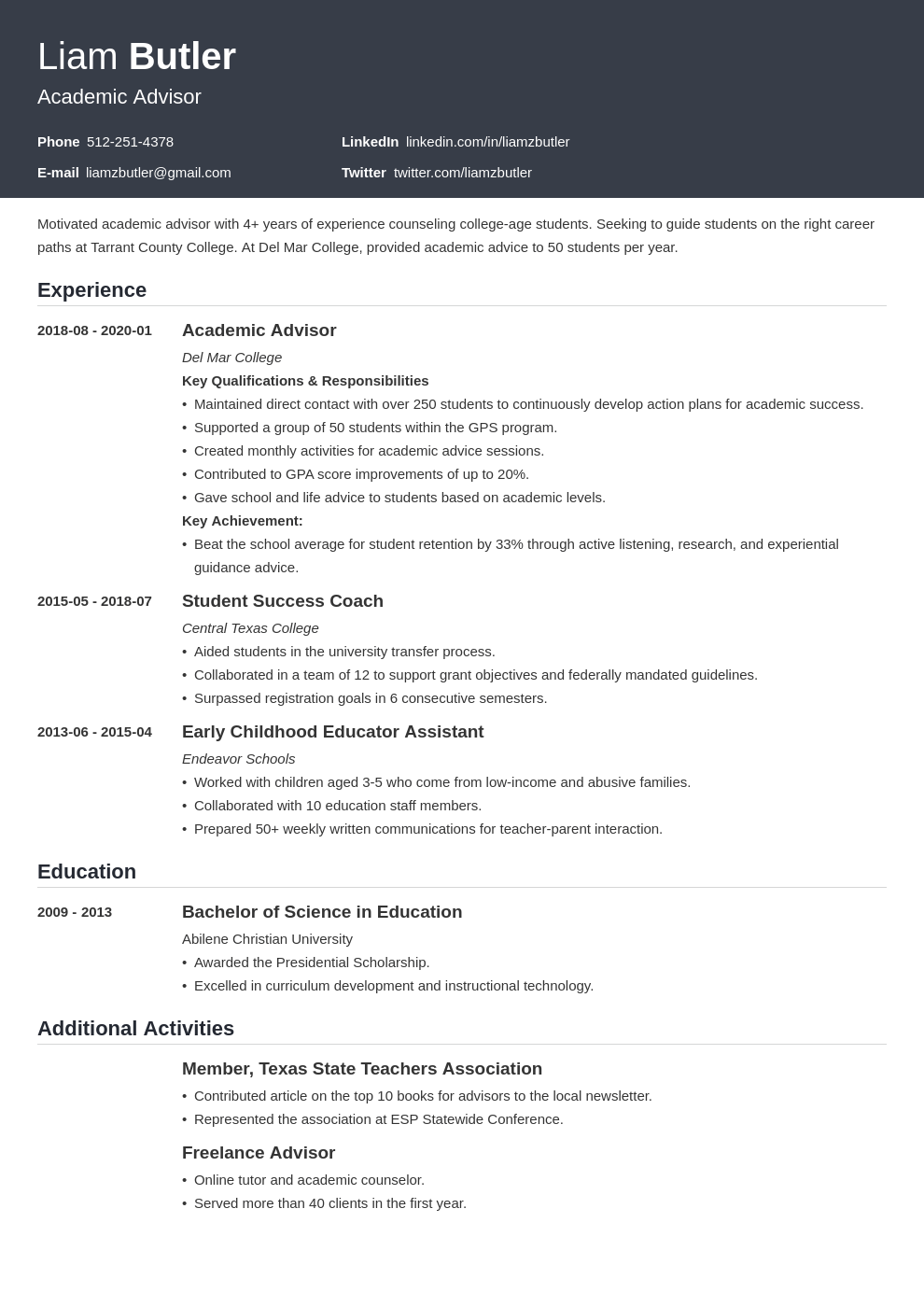 academic advisor resume example template influx