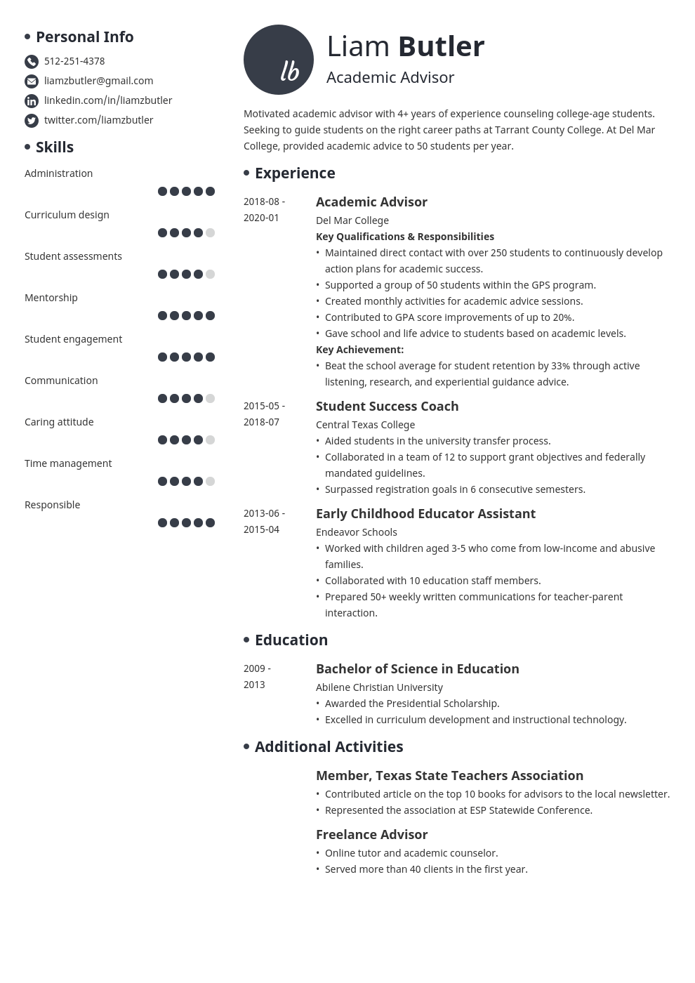 academic advisor resume example template initials