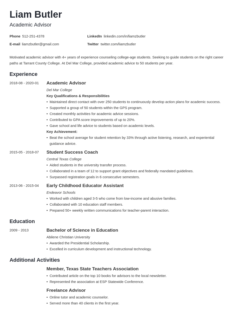 academic advisor resume example template minimo