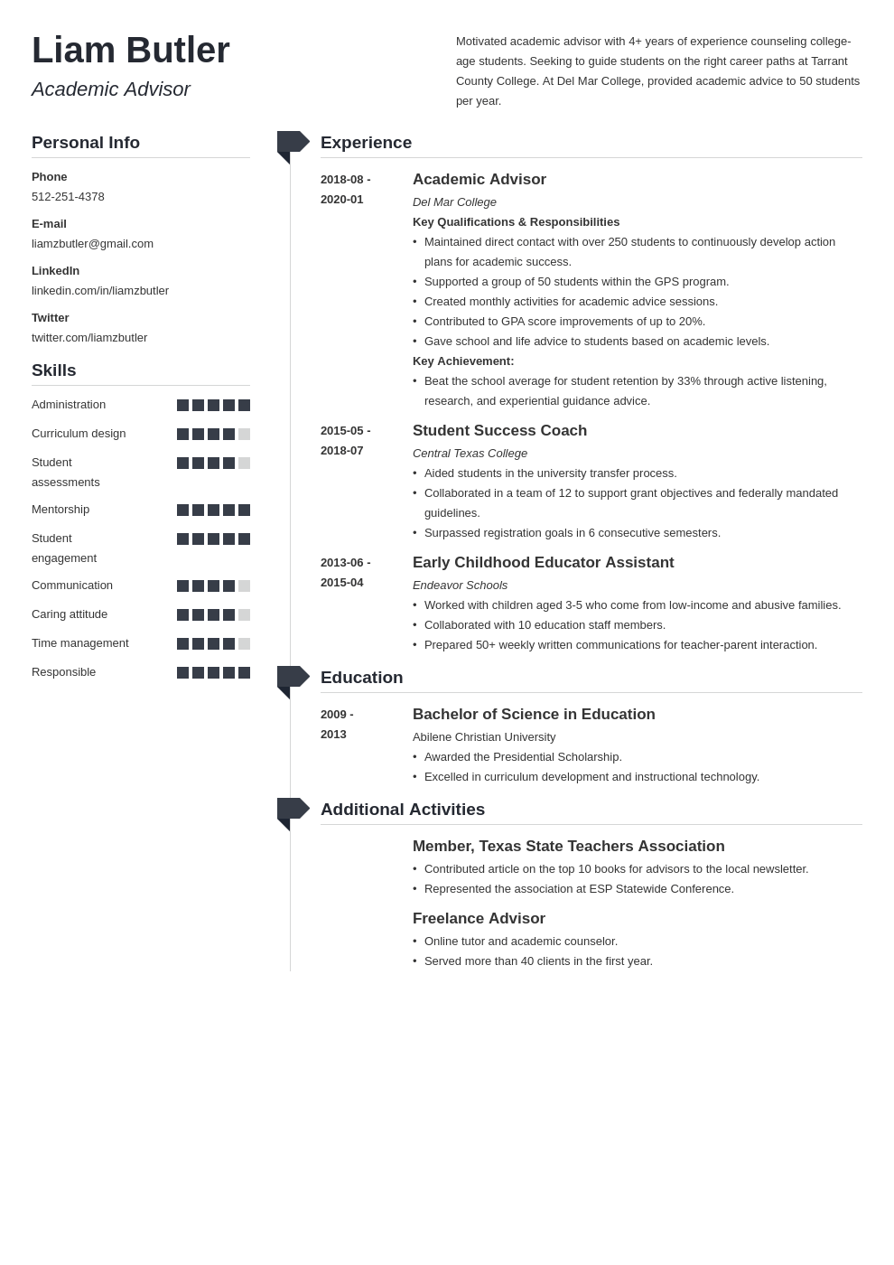 academic advisor resume example template muse