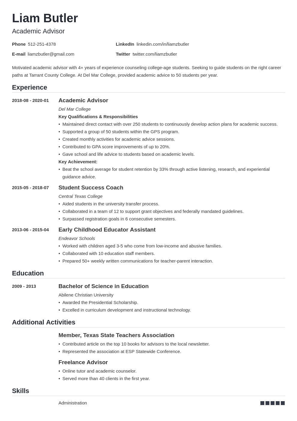 academic advisor resume example template nanica